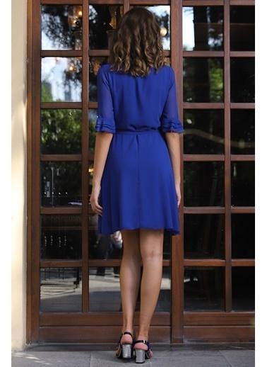 İroni V Yaka Şifon Elbise Saks